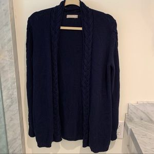 Banana Republic navy cardigan with cable detail